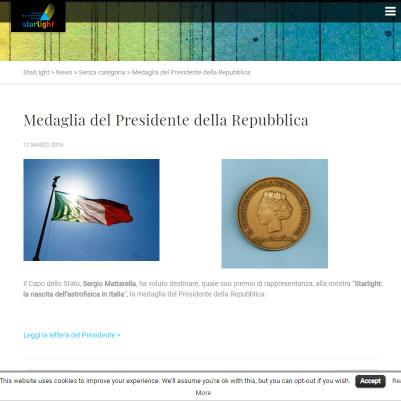 you360.it ha realizzato il virtualtour Starlight premiato dal presidente della repubblica Italiana Sergio Mattarella