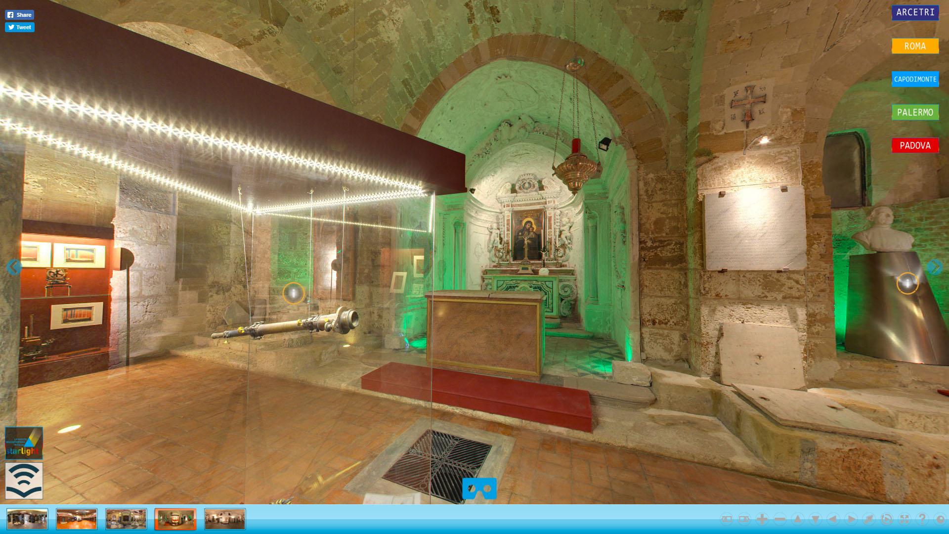 you360.it ha realizzato il virtualtour Starlight un museo virtuale della astrofisica INAF sedi di Monteporzio Catone (Roma), Arcetri (Firenze), Capodimonte (Napoli), Palermo, Padova